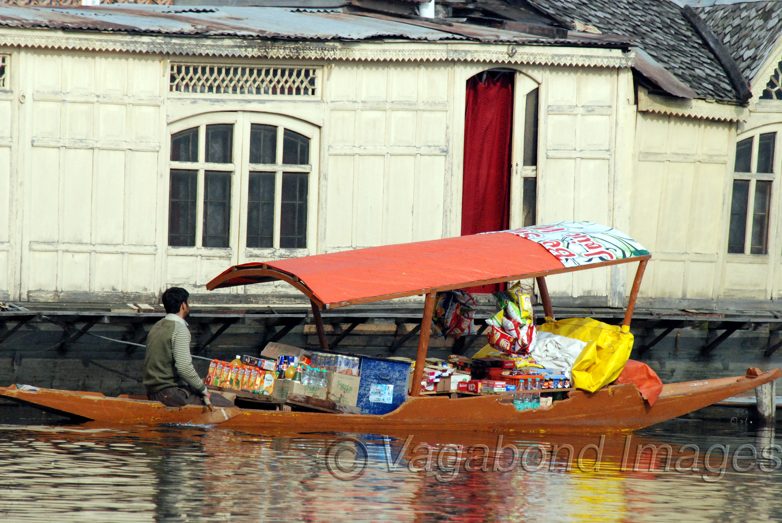 A shop on the shikara for the ones who don't want to leave the coziness of their houseboats