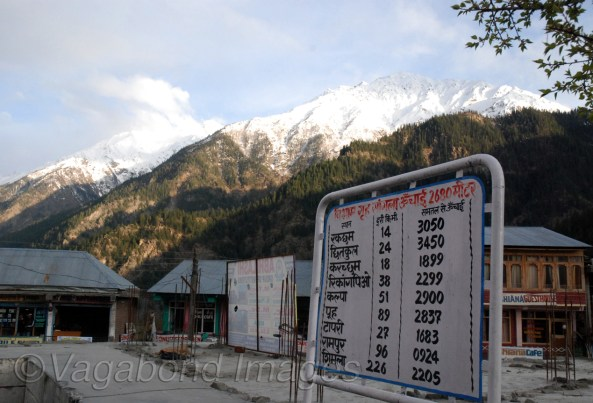 Distances from Sangla to various palces in Kinnaur and Spiti