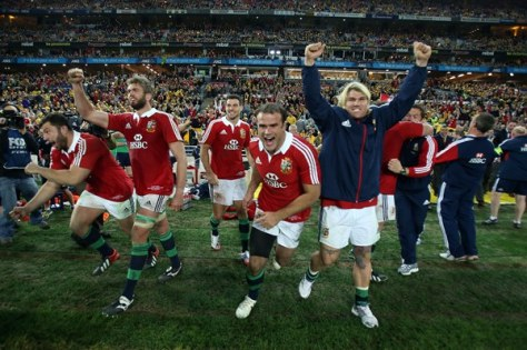 Members of the Lion's team celebrate at the final whistle Photo:  ©INPHO/Dan Sheridan