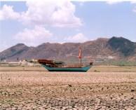 Dried waterbed of Lake Pichola in Udaipur, Rajasthan