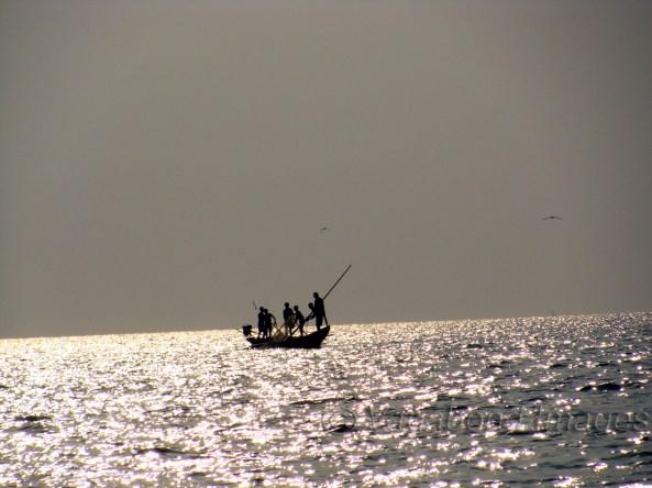 Fishermen in Chilika Lake in Odisha, India