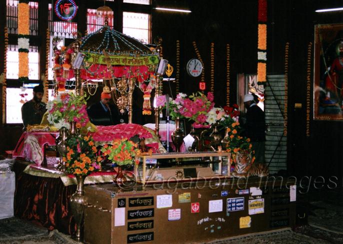 Guru Granth Sahib inside the Hemkund gurudwara