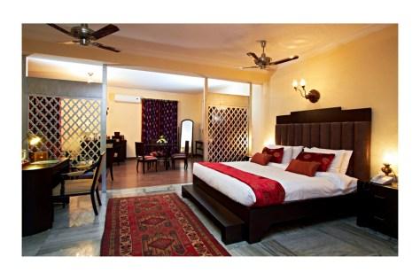 Bedroom of a suite at Ranbanka Palace