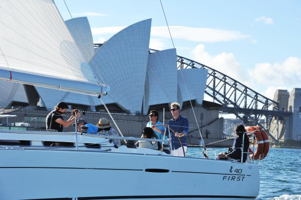 Sanjeev Kapoor with Brett Lee on a yatch in the Sydney Harbour, New South Wales, Australia