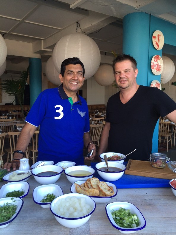 Sanjeev Kapoor with Simon Sandall at North Bondi Fish, Restaurant of Chef Matt Moran, Sydney, New South Wales, Australia