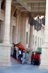 Welcoming guests at Umaid Palace