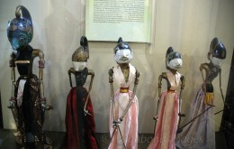 Wooden puppets of West Java. The purwa golek puppet theatre of West Java used to play stories of hindu epics Ramayana and Mahabharata. Here we can see the puppets depicting the five Pandavas.