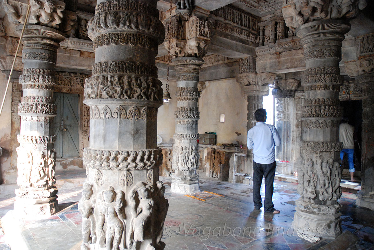 Main hall with carved pillars