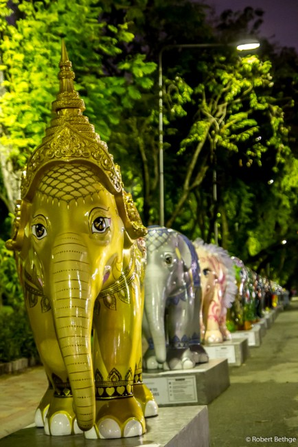 Parade of decorative elephants in Lumphini Park