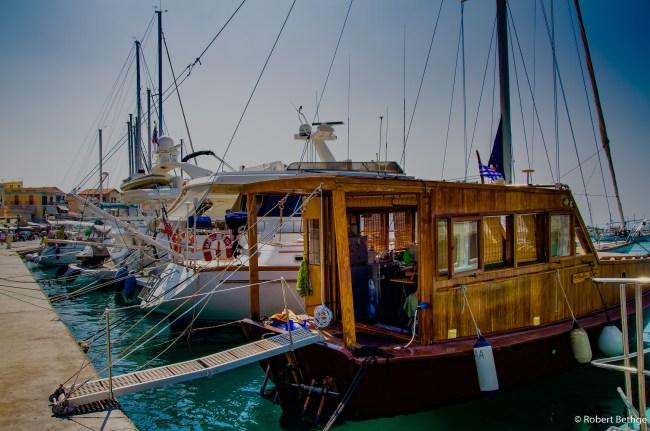 boat in aegina harbor
