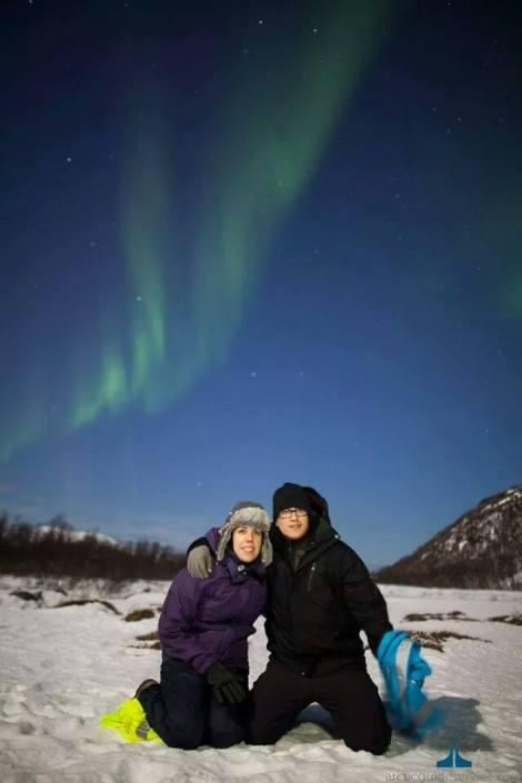 Bajo las auroras boreales en Tromso