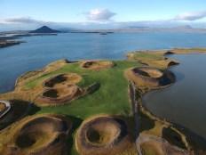 Pseudo cráteres Skutustadagigar en la orilla sur del lago Myvatn, Islandia