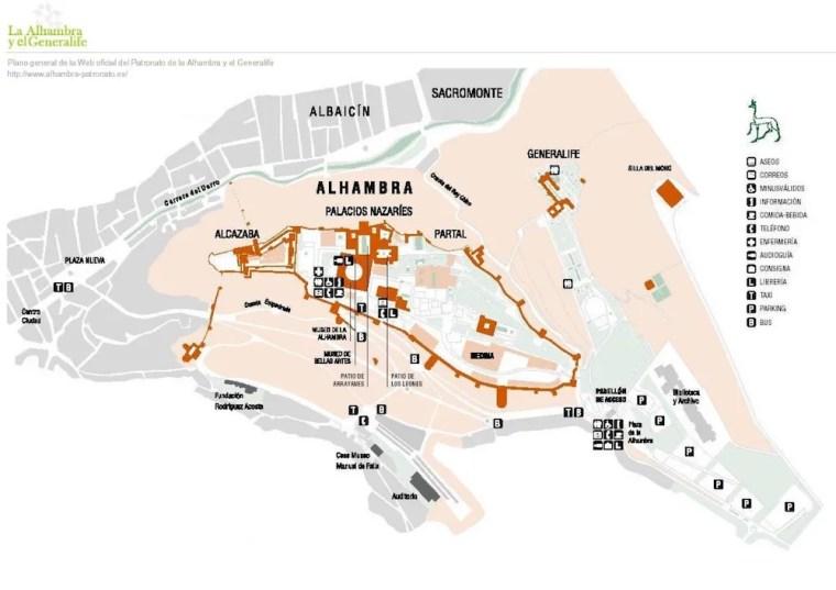 Mapa de la Alhambra de Granada