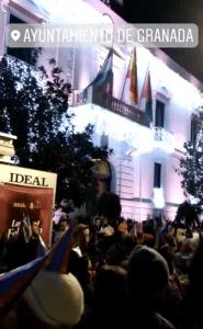 Celebración de Nochevieja frente al Ayuntamiento de Granada
