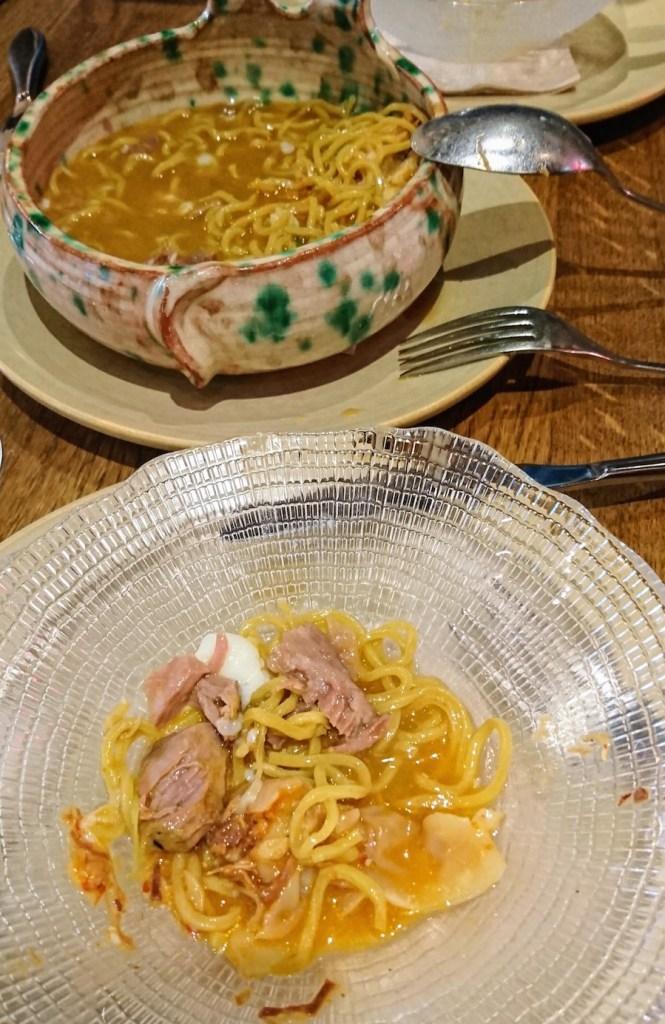 Ramen de cocido en el restaurante Latasia, Madrid