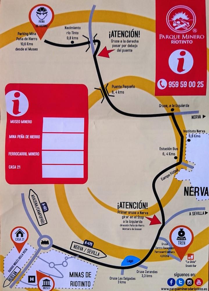 Mapa del Parque Minero de Riotinto, en Huelva