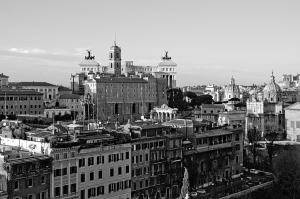 Panorámica en blanco y negro de Roma