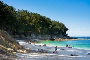 Playa de Figueiras, nudista, en ls islas Cíes