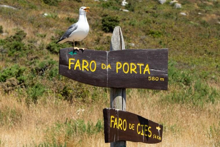 Señales indicativas en las islas Cíes