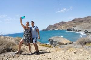 Selfie finalizando la ruta de playa de Genoveses a Mónsul, Cabo de Gata
