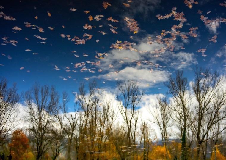 Reflejos de otoño en el lago del Bosque Finlandés, Rascafría
