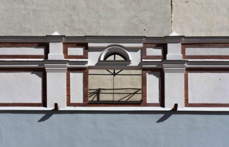 Hueco donde estaba el marcador de timbre eléctrico en el frontón Beti Jai, el primero que hubo en España