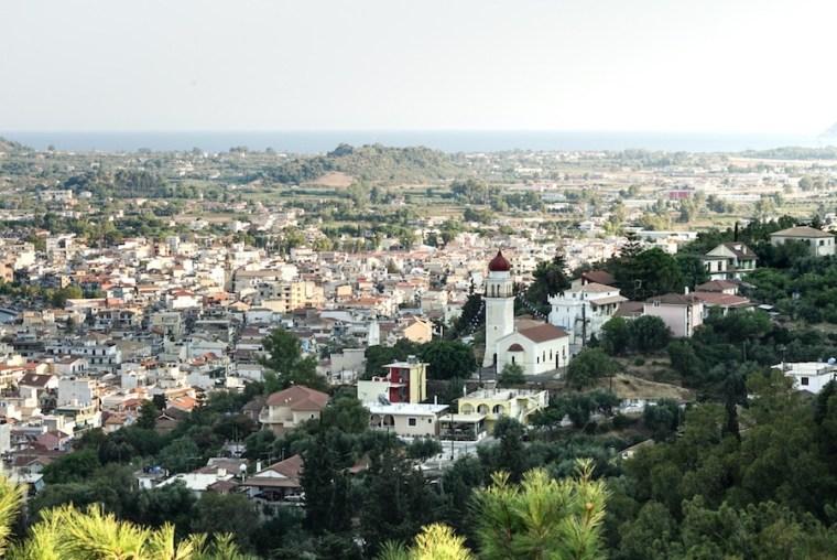 Vistas de la ciudad de Zakynthos desde el castillo