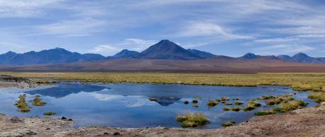Laguna frente al volcán Putana donde pudimos ver varias especies de aves, como la guata (una especie de pato negro)