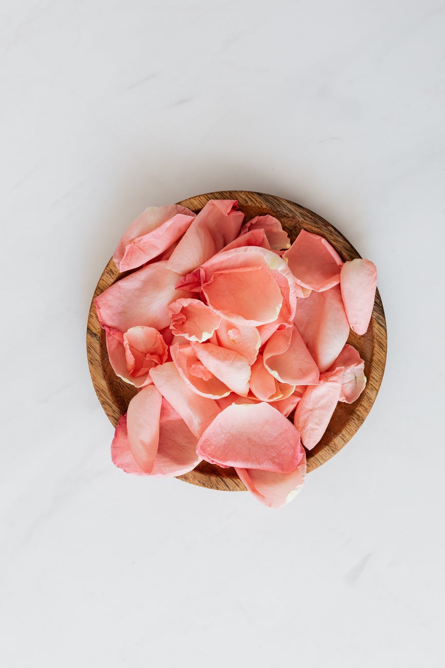 delicate rose petals and wooden plate on white surface