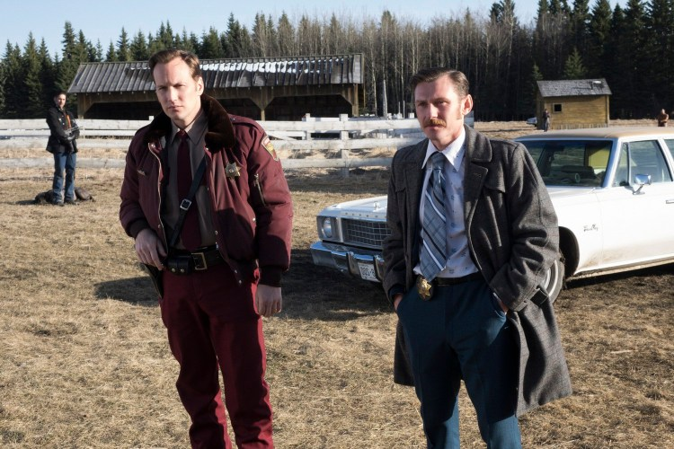 FARGO -- ÒDid You Do This? No, you did it!Ó -- Episode 207 (Airs Monday, November 23, 10:00 pm e/p) Pictured: (l-r) Patrick Wilson as Lou Solverson, Keir O'Donnell as Ben Schmidt. CR: Chris Large/FX
