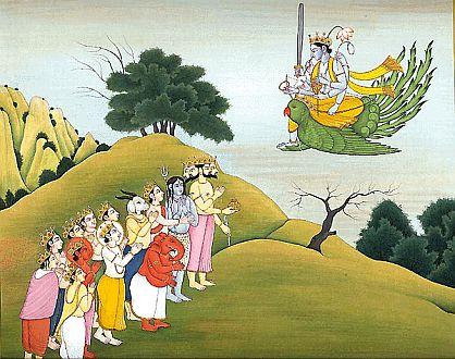 Gods adoring Lord Vishnu