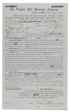 Insurance policy, 1864, issued to H. C. Cox for an African-American slave, Alfred (VHS call number: Mss4 V81945 b 2)