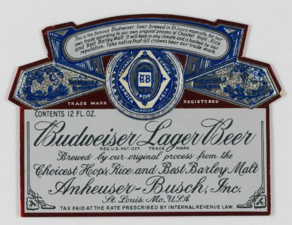 Budweiser Lager Beer Label (VHS call number: Mss1 R3395a)