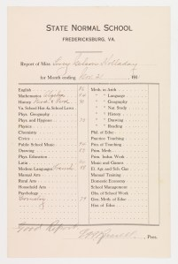 Report cards were sent quarterly. During the early years of the normals, reports were mailed to parents, then signed and returned to the school. (Mss1 H7185 b 11,735-11,736)