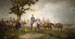 The Summer Mural portrays a fictitious gathering of Confederate commanders with Gen. Robert E. Lee in the mots prominent position.
