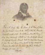 """""""James Armistead Lafayette,"""" James Armistead Lafayette was manumitted by the Commonwealth of Virginia for his services as a double agent during the Yorktown campaign. This engraving couples his portrait by John Blennerhassett Martin with a facsimile testimonial by the Marquis de Lafayette. (VHS accession number: 1993.215)"""