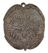 """Silver badge made by order of the Virginia General Assembly c.1662, engraved """"Ye King of"""" on one side and the other engraved with the name of the tribe, """"Patomeck"""" [Potomac]. Badges served as passports for Indians visiting English settlements. They were fashioned of copper for warriors and silver for chiefs. This and the """"Machotick"""" [Machodoc] medals were found on the same Caroline County farm, the Potomac badge in 1832 and the Machodoc badge in 1964. (VHS accession number 1842.1)"""