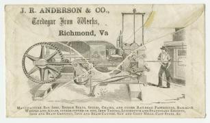 Tredegar Iron Works envelope. Detail from envelope depicting Tredegar Iron Works; the other side of this hand-stamped envelope is postmarked Richmond June 15, 1861. By then, Virginia has seceded but did not yet have its own postage. The first Confederate adhesive stamp would appear in October 1861. (VHS accession number: 1997.174)