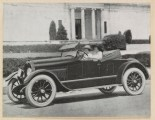 "Image from a Kline Kar, ""The Ace of the Highway"" brochure, accompanying the advertisement for ""The Roadster."" Notice that the two women driving are in front of Battle Abbey, now the VHS. (Virginia Historical Society, Mss1 K6853 a, Section 4, Folder 62)"