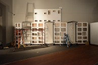 This is not modern art, but the cut-outs in these wall panels allow them to be reassembled at the VHS after initially being constructed in Buffalo, New York.
