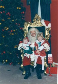1995, Julie Sjostrom, Visitor Services Associate at the Virginia Historical Society visiting Legendary Santa