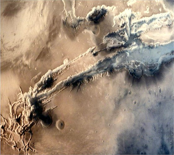 Close-up view of a portion of the gigantic Valles Marineris Canyon of Mars ​(courtesy Isro)
