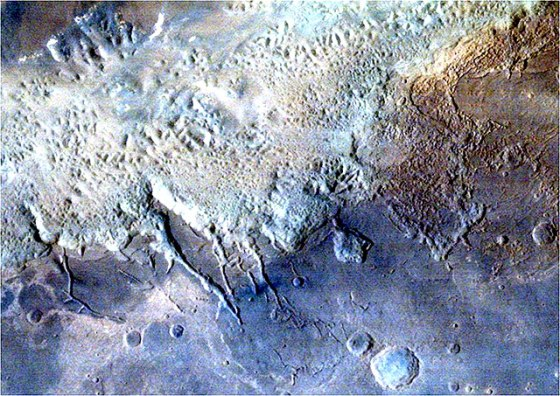 Eos Chaos area, part of the gigantic Valles Marineris Canyon of Mars ​(courtesy Isro)