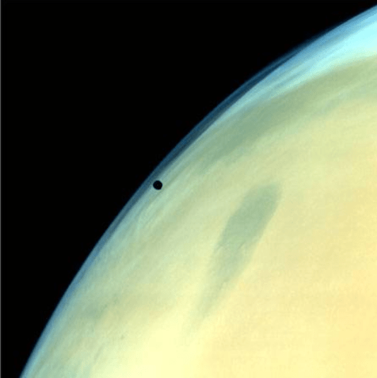Phobos, one of the two natural satellites of Mars silhouetted against the Martian surface ​(courtesy Isro)