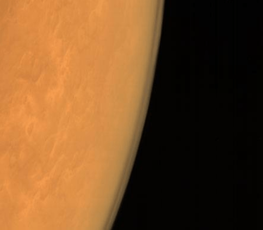 Taken using the Mars Color Camera from an altitude of 8449 km ​(courtesy Isro)