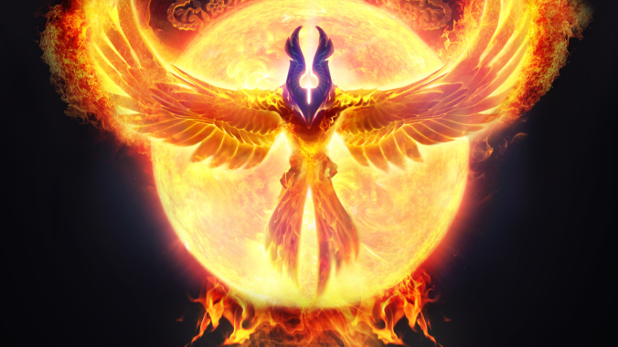 Phoenix raising from its ashes