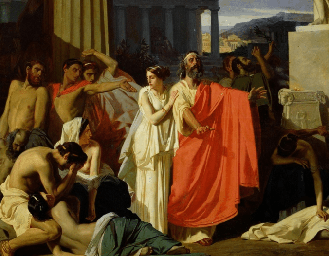 Blind Oedipus in exile with his daughter Antigone