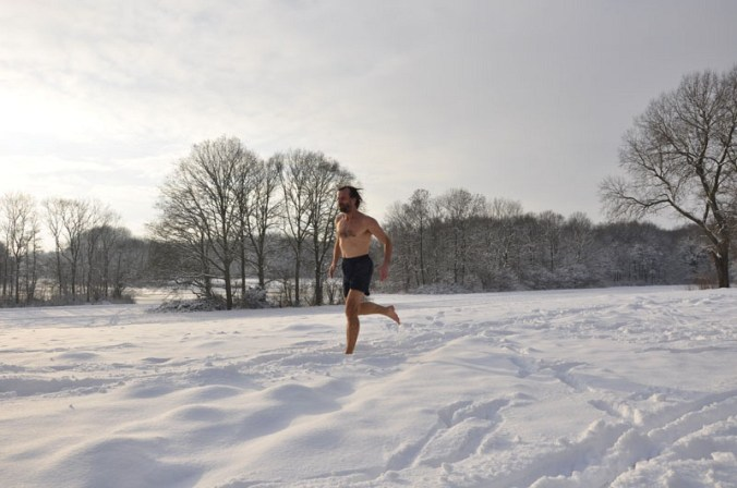 Wim Hof running half naked in winter