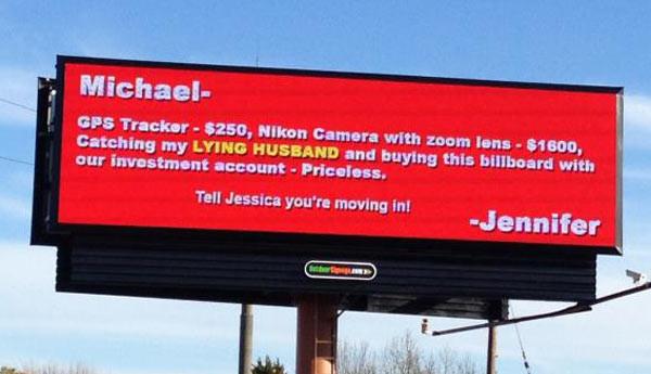 funny billboard from scorned woman
