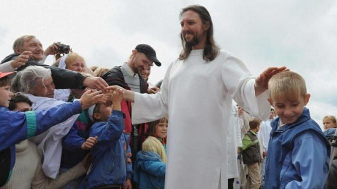 Russian Jesus blessing his followers